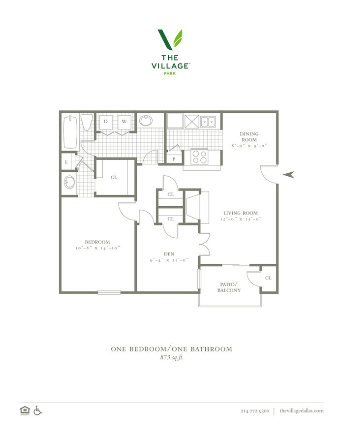 2 Bedrooms 1 Bathroom Apartment for rent at The Village Park in Dallas, TX