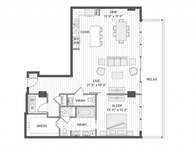 1 Bedroom 1 Bathroom Apartment for rent at Amli Design District in Dallas, TX