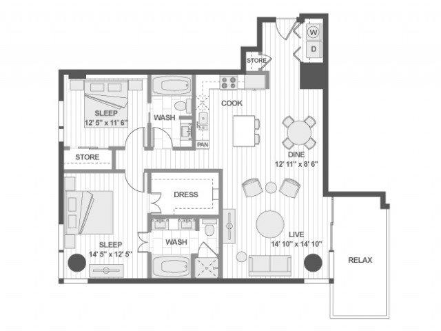 2 Bedrooms 2 Bathrooms Apartment for rent at Amli Design District in Dallas, TX