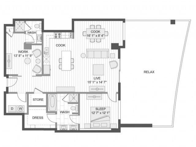 1 Bedroom 2 Bathrooms Apartment for rent at Amli Design District in Dallas, TX