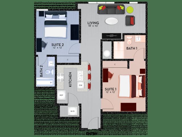 2 Bedrooms 2 Bathrooms Apartment for rent at Shortbread Lofts in Chapel Hill, NC