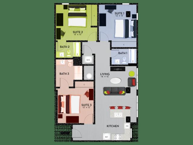 3 Bedrooms 3 Bathrooms Apartment for rent at Shortbread Lofts in Chapel Hill, NC