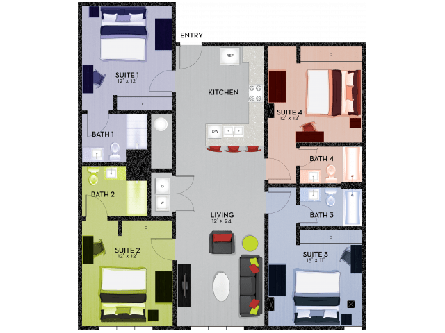 4 Bedrooms 4+ Bathrooms Apartment for rent at Shortbread Lofts in Chapel Hill, NC