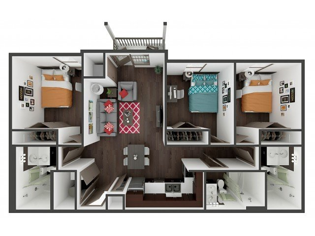 3 Bedrooms 3 Bathrooms Apartment for rent at Academy Lincoln in Lincoln, NE