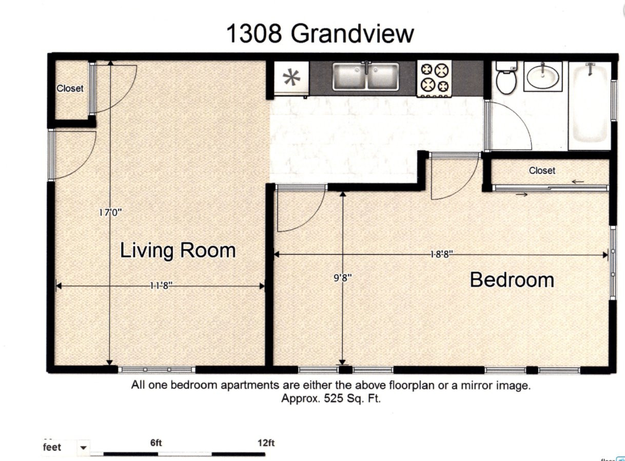 1 Bedroom 1 Bathroom Apartment for rent at 1308 Grandview Dr in Champaign, IL