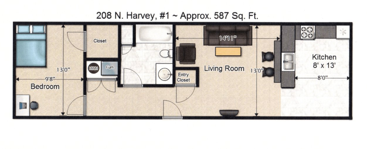 1 Bedroom 1 Bathroom Apartment for rent at 208 N Harvey St in Urbana, IL