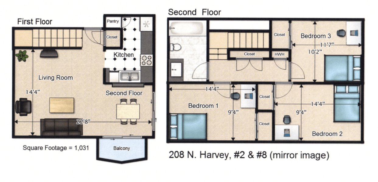 3 Bedrooms 1 Bathroom Apartment for rent at 208 N Harvey St in Urbana, IL