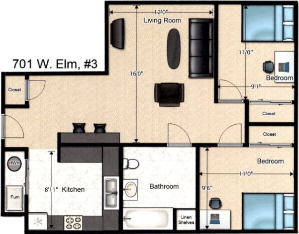 2 Bedrooms 1 Bathroom Apartment for rent at 701 W Elm St in Urbana, IL