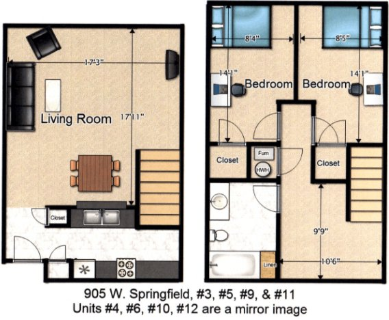2 Bedrooms 1 Bathroom Apartment for rent at 905 W Springfield Ave in Urbana, IL