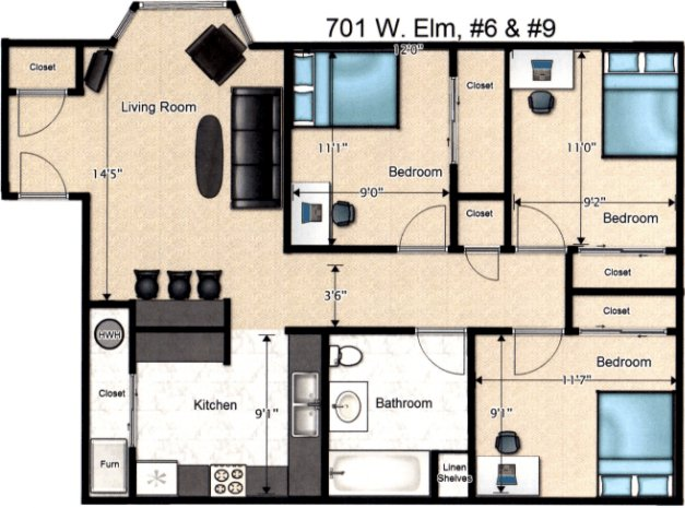 3 Bedrooms 1 Bathroom Apartment for rent at 701 W Elm St in Urbana, IL