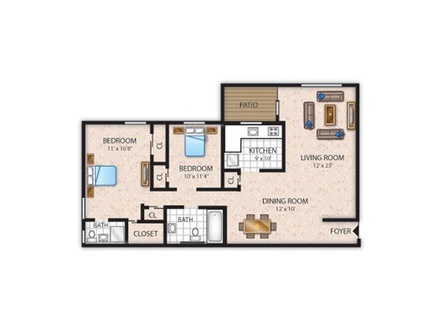 2 Bedrooms 2 Bathrooms Apartment for rent at The Bradford in Leola, PA