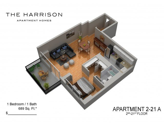 Studio 1 Bathroom Apartment for rent at The Harrison in Somerset, NJ