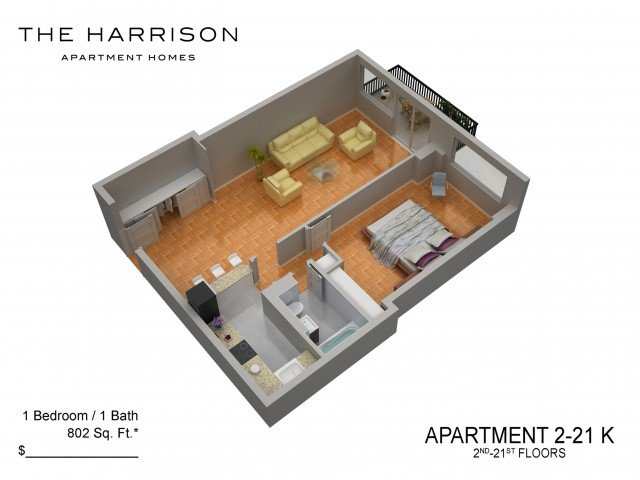 1 Bedroom 1 Bathroom Apartment for rent at The Harrison in Somerset, NJ