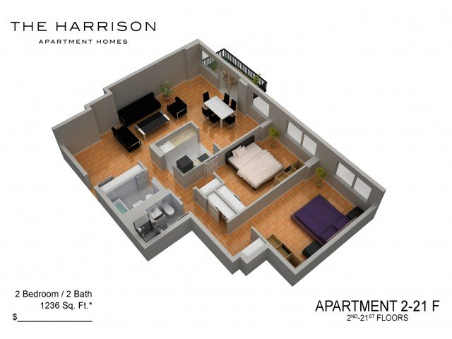 2 Bedrooms 2 Bathrooms Apartment for rent at The Harrison in Somerset, NJ