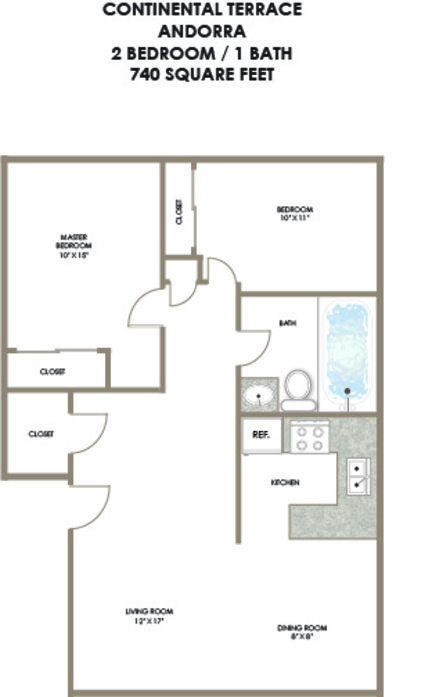 2 Bedrooms 1 Bathroom Apartment for rent at Nextwave Apartments Continental Terrace in Bloomington, IN