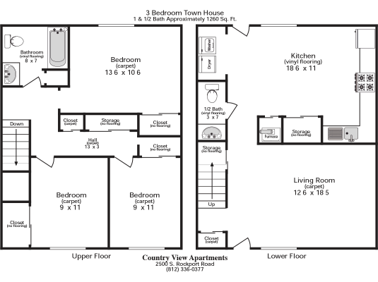 3 Bedrooms 1 Bathroom Apartment for rent at Country View Apartments in Bloomington, IN