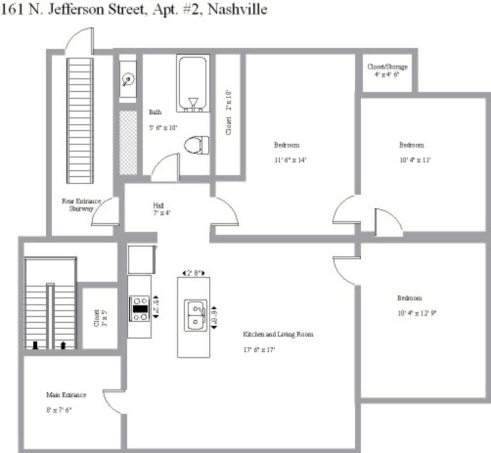 3 Bedrooms 1 Bathroom Apartment for rent at 161 N. Jefferson St. in Bloomington, IN
