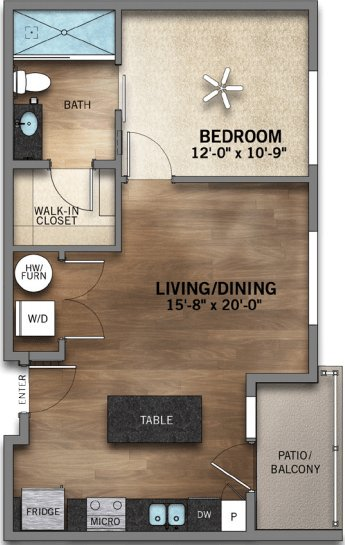1 Bedroom 1 Bathroom Apartment for rent at Highland Station in Louisville, KY