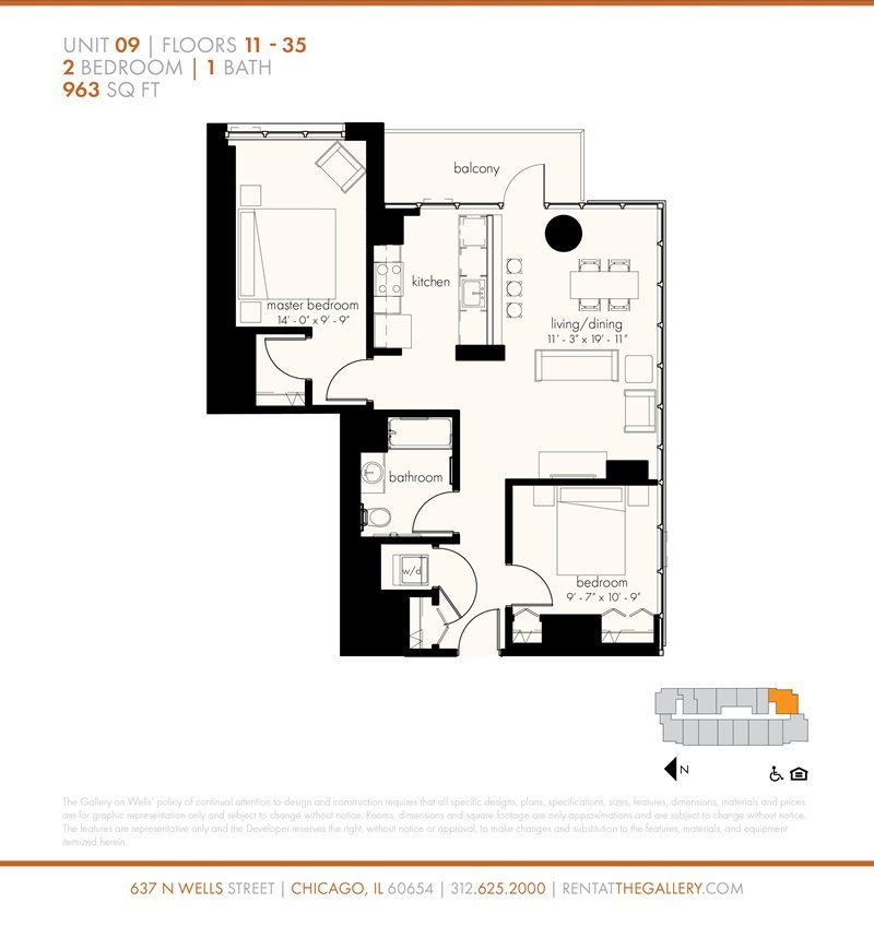 2 Bedrooms 1 Bathroom Apartment for rent at The Gallery On Wells in Chicago, IL