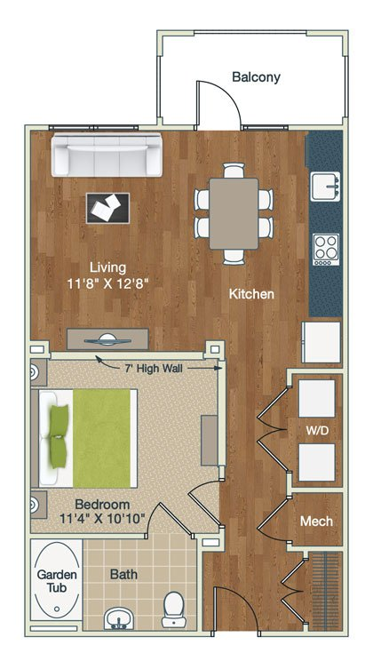 Studio 1 Bathroom Apartment for rent at Palladian Place in Durham, NC