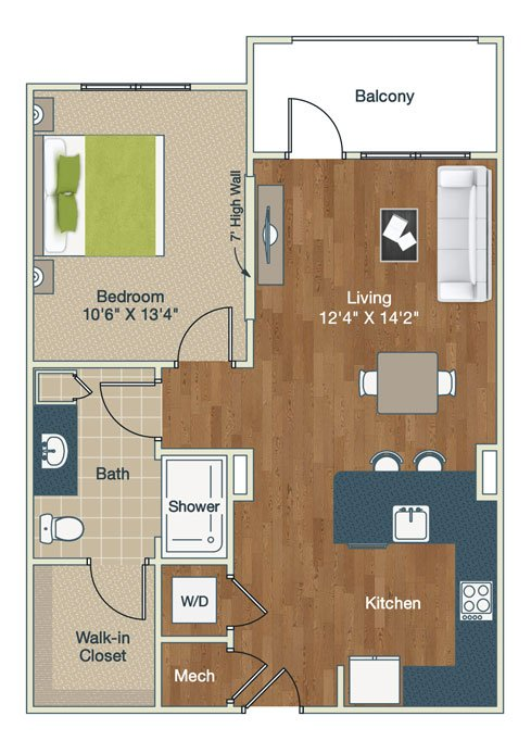 1 Bedroom 1 Bathroom Apartment for rent at Palladian Place in Durham, NC
