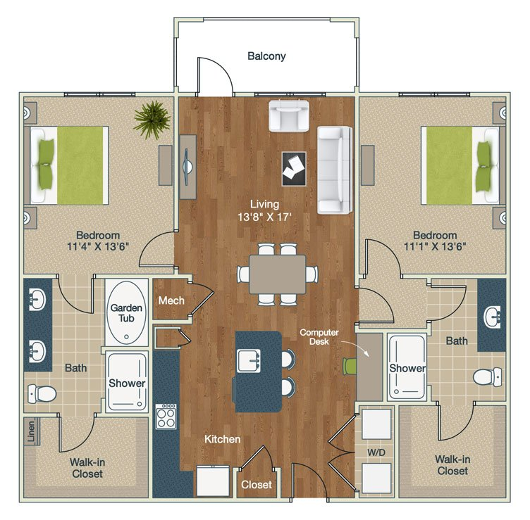 2 Bedrooms 2 Bathrooms Apartment for rent at Palladian Place in Durham, NC