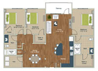 3 Bedrooms 2 Bathrooms Apartment for rent at Palladian Place in Durham, NC