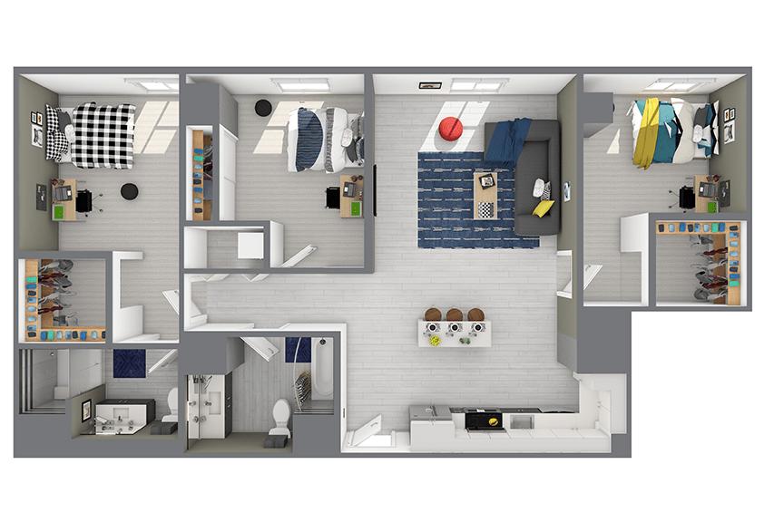 3 Bedrooms 2 Bathrooms Apartment for rent at Hub Minneapolis in Minneapolis, MN