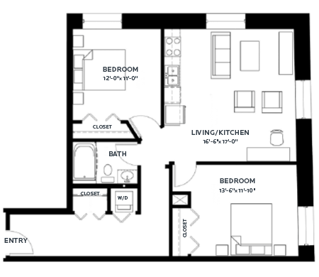 2 Bedrooms 1 Bathroom Apartment for rent at C & E Lofts in Minneapolis, MN