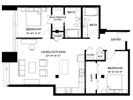 2 Bedrooms 2 Bathrooms Apartment for rent at C & E Lofts in Minneapolis, MN