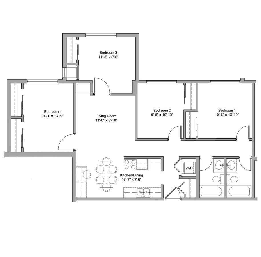 4 Bedrooms 2 Bathrooms Apartment for rent at The Denn in Minneapolis, MN