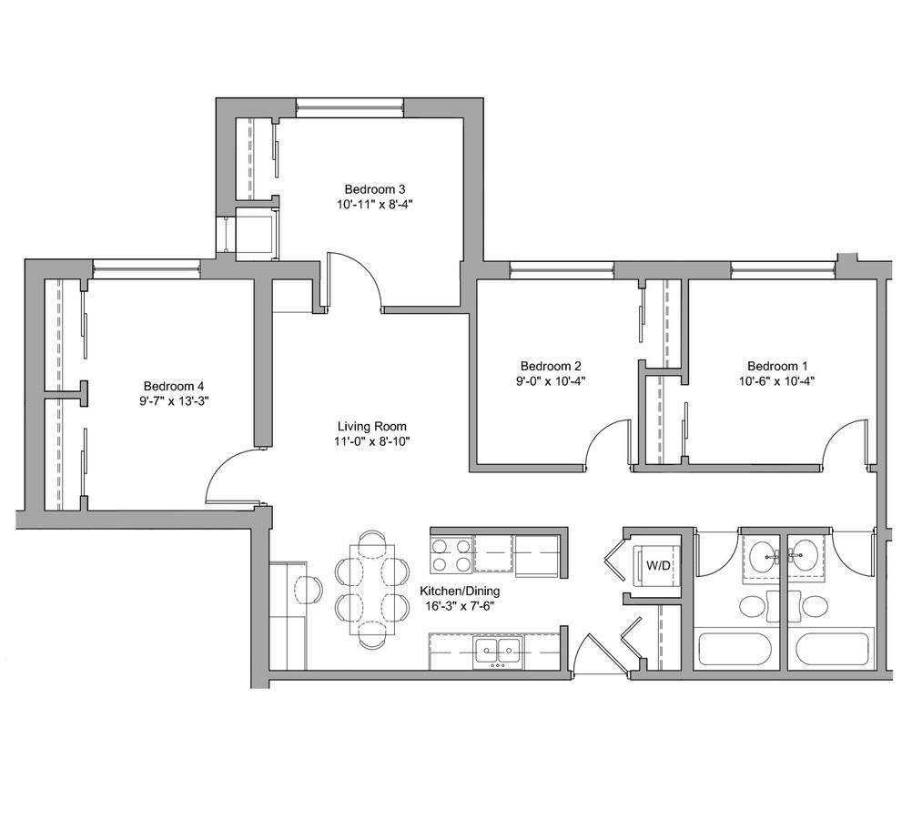 4 Bedrooms 2 Bathrooms Apartment for rent at The Den in Minneapolis, MN