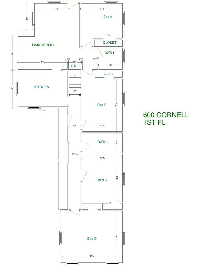 4 Bedrooms 2 Bathrooms House for rent at 600 Cornell Ave. in East Lansing, MI