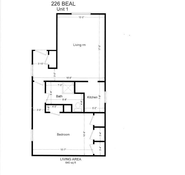 1 Bedroom 1 Bathroom Apartment for rent at 226 Beal St in East Lansing, MI
