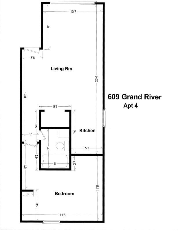 1 Bedroom 1 Bathroom Apartment for rent at 609 W. Grand River in East Lansing, MI