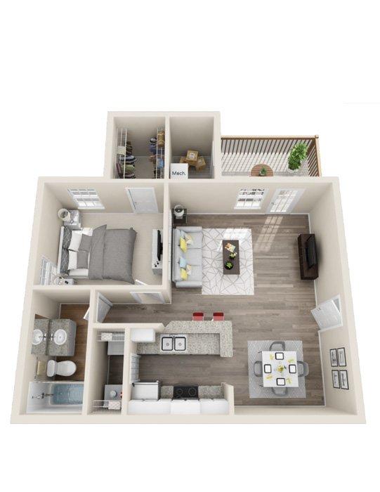 1 Bedroom 1 Bathroom Apartment for rent at Rivers Edge At Carolina Stadium in Columbia, SC
