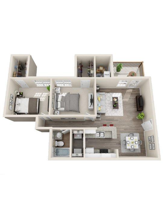 2 Bedrooms 1 Bathroom Apartment for rent at Rivers Edge At Carolina Stadium in Columbia, SC