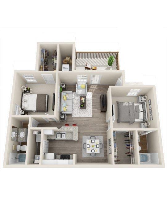 2 Bedrooms 2 Bathrooms Apartment for rent at Rivers Edge At Carolina Stadium in Columbia, SC