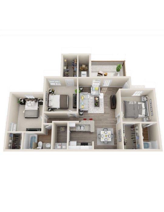 3 Bedrooms 2 Bathrooms Apartment for rent at Rivers Edge At Carolina Stadium in Columbia, SC