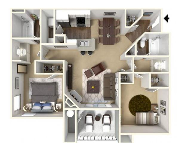 2 Bedrooms 2 Bathrooms Apartment for rent at Cobble Oaks Apartments in Gold River, CA