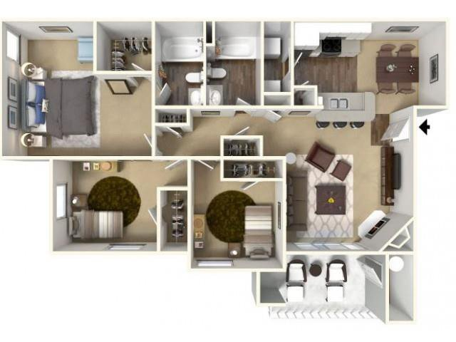 3 Bedrooms 2 Bathrooms Apartment for rent at Cobble Oaks Apartments in Gold River, CA