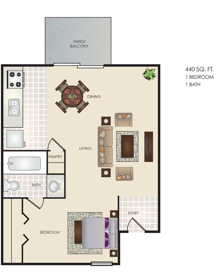 Studio 1 Bathroom Apartment for rent at Altitude in San Antonio, TX