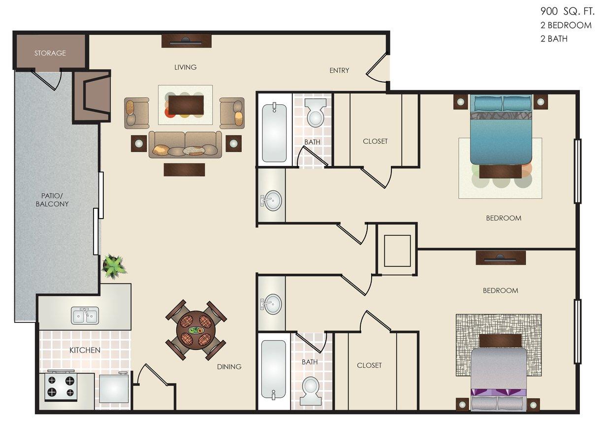 2 Bedrooms 2 Bathrooms Apartment for rent at Altitude in San Antonio, TX