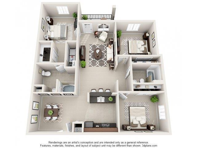3 Bedrooms 2 Bathrooms Apartment for rent at Kilnsea Village Apartments in Summerville, SC