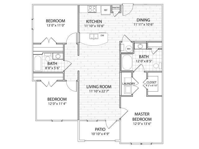 3 Bedrooms 2 Bathrooms Apartment for rent at Arrington Ridge in Round Rock, TX