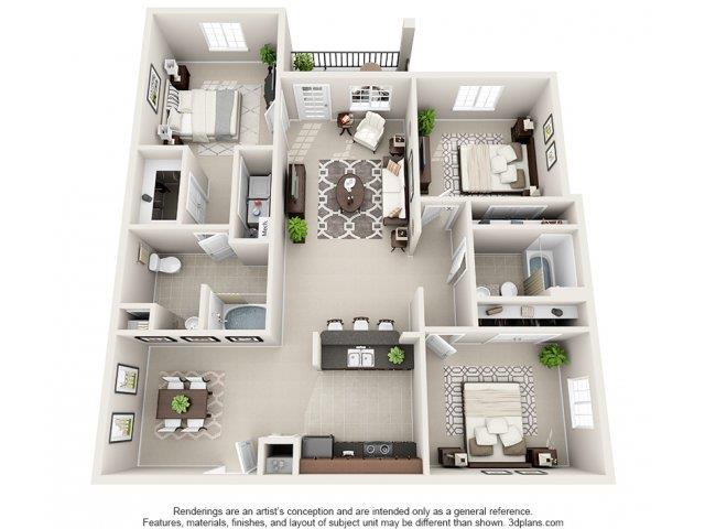 3 Bedrooms 2 Bathrooms Apartment for rent at Village At Town Center in Raleigh, NC