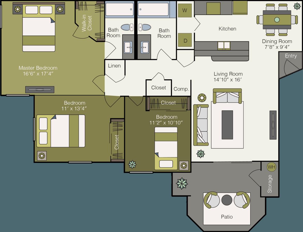 3 Bedrooms 2 Bathrooms Apartment for rent at Sonoma Ridge Apartments in Peoria, AZ