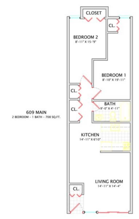 2 Bedrooms 1 Bathroom Apartment for rent at 609 W. Main in Urbana, IL