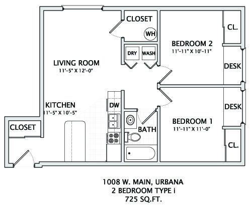 2 Bedrooms 1 Bathroom Apartment for rent at 1008 W. Main in Urbana, IL