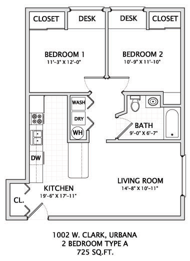 2 Bedrooms 1 Bathroom Apartment for rent at 1002 W. Clark in Urbana, IL